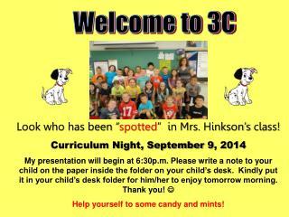 Curriculum Night, September  9 , 2014
