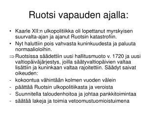 Ruotsi vapauden ajalla: