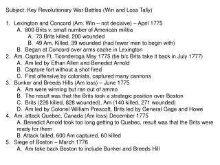 Subject: Key Revolutionary War Battles (Win and Loss Tally)