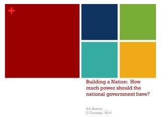 Building a Nation:  How much power should the national government have?