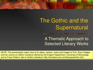 The Gothic and the Supernatural