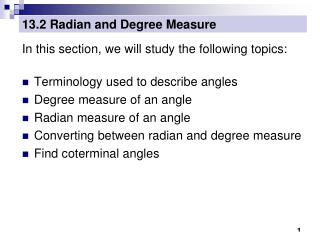 13.2 Radian and Degree Measure