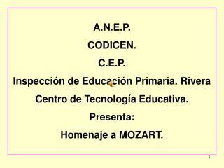 A.N.E.P. CODICEN. C.E.P. Inspección de Educación Primaria. Rivera Centro de Tecnología Educativa.