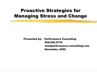 Proactive Strategies for Managing Stress and Change