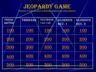 Jeopardy Game Version 10.2 by Allison crawford modified by John Christie