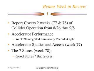 Beams Week in Review