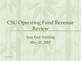CSU Operating Fund Revenue Review