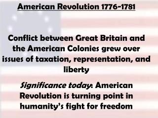 American Revolution 1776-1781