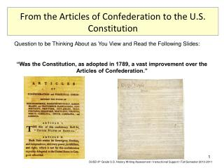 From the Articles of Confederation to the U.S. Constitution