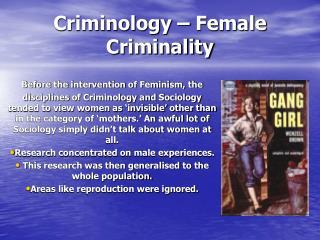 Criminology – Female Criminality
