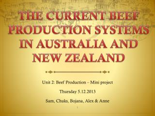 THE CURRENT BEEF PRODUCTION SYSTEMS IN AUSTRALIA AND NEW ZEALAND