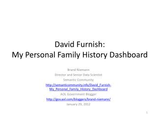 David  Furnish : My  Personal Family History  Dashboard