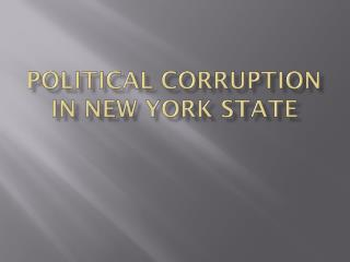 Political corruption in New York State