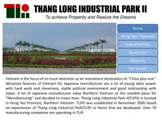 THANG LONG INDUSTRIAL PARK II  To achieve Properity and Realize the Dreams