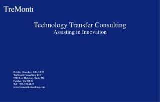 Technology Transfer Consulting Assisting in Innovation