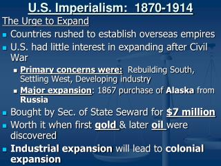 U.S. Imperialism:  1870-1914
