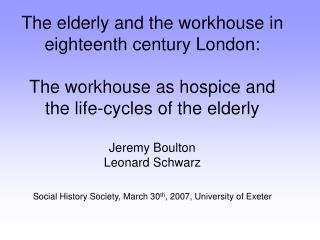 The elderly in the eighteenth century