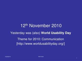 12 th  November 2010