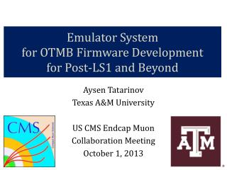 Emulator System  for  OTMB  Firmware Development  for Post-LS1  and  Beyond