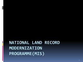 National Land Record Modernization ProgrammeMIS