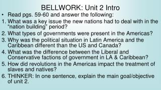 BELLWORK: Unit 2 Intro