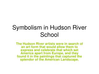 Symbolism in Hudson River School