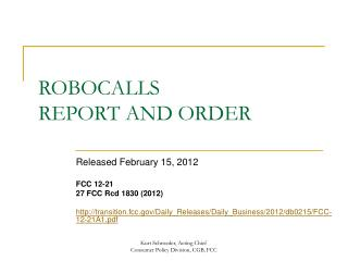 ROBOCALLS REPORT AND ORDER