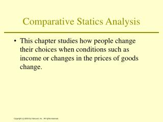 Comparative Statics Analysis