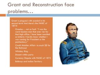Grant and Reconstruction face problems…