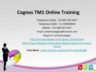 Cognos TM1 Online Training