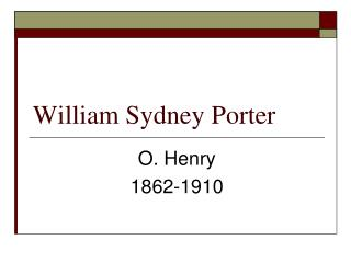 William Sydney Porter