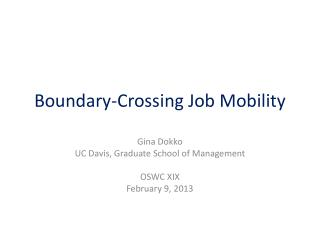 Boundary-Crossing Job Mobility