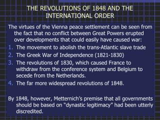 THE REVOLUTIONS OF 1848 AND THE INTERNATIONAL ORDER