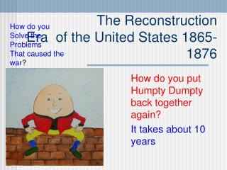 The Reconstruction Era  of the United States 1865-1876