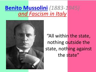 """All within the state, nothing outside the state, nothing against the state"""