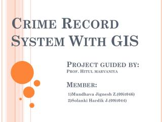 Crime Record System With GIS