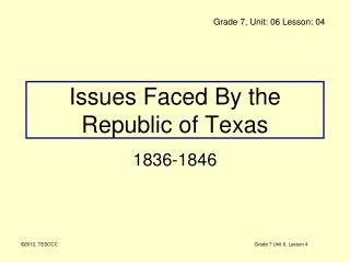 Issues Faced By the Republic of Texas