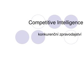 Competitive Intelligence