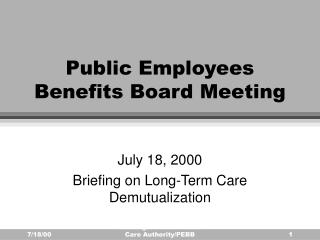 Public Employees Benefits Board Meeting