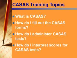 CASAS Training Topics
