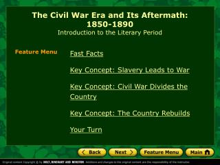 The Civil War Era and Its Aftermath:  1850-1890 Introduction to the Literary Period