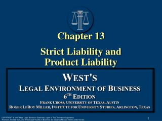 Chapter 13 Strict Liability and  Product Liability