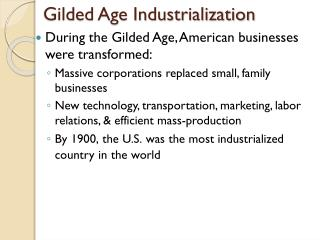 Gilded Age Industrialization