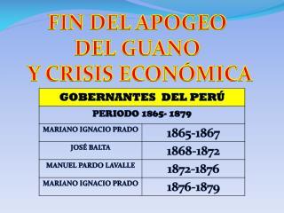FIN DEL APOGEO  DEL GUANO  Y CRISIS ECONÓMICA