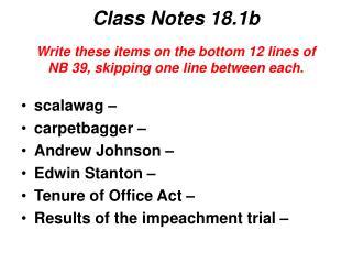 Class Notes 18.1b