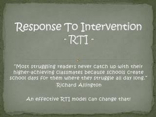 Response To Intervention - RTI -