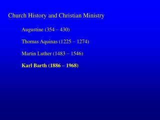 Church History and Christian Ministry