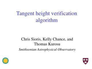 Tangent height verification algorithm
