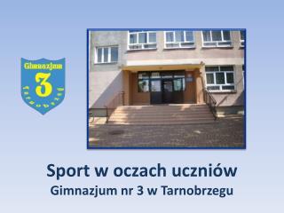 Sport w oczach uczni�w  Gimnazjum nr 3 w Tarnobrzegu