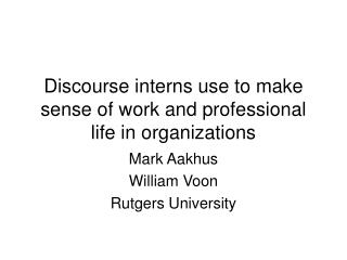 Discourse interns use to make sense of work and professional life in organizations